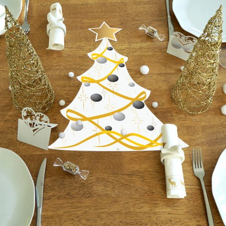 Set de table Sapin ruban boules