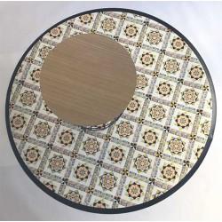 Tapis Vinyle rond Andalouz Carreaux Ciment