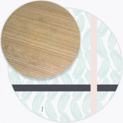 Tapis Vinyle rond Andalouz Palm Pastel