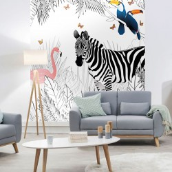 Papier peint adhésif panoramique Scène Animaux Zèbre