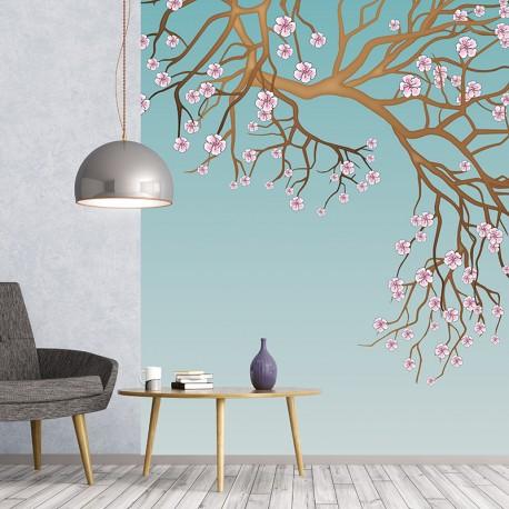 Papier peint adhésif panoramique Cerisier Chinois