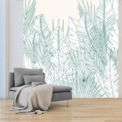 Papier peint adhésif panoramique Feuillage Vert