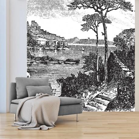 Papier peint adhésif panoramique Gravure Paysage