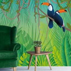 Papier peint adhésif panoramique Scène Jungle Toucan