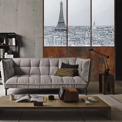 Papier peint adhésif panoramique Verrière Paris Noir et Blanc