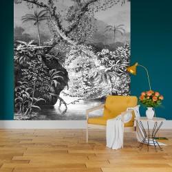 Papier peint adhésif panoramique Tropicale Gravure