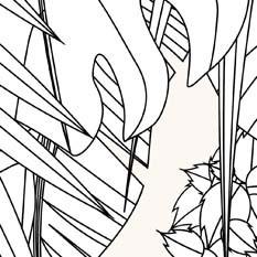 Feuillage Liane Noir Blanc & Beige